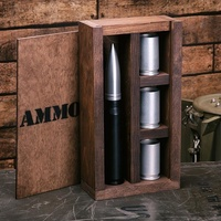 Hanging Bar Set with Flask and 3 Aluminium Shot Glasses